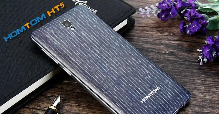 HOMTOM HT5 - 5-инчов смартфон с голяма батерия и корпус, имитиращ дърво