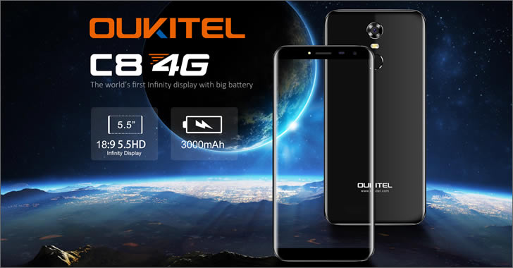 Oukitel C8 - евтин, но модерен смартфон с 18:9 дисплей