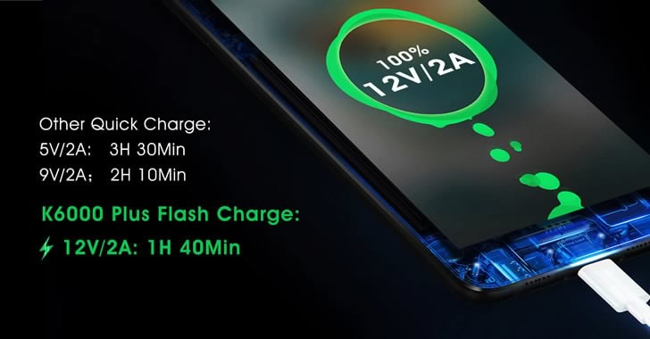 Oukitel K6000 Plus flash charge