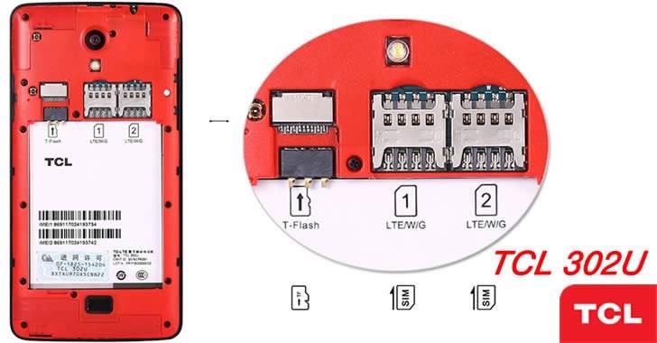TCL 302U microSD - SIM slots