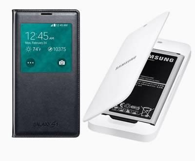 Нови аксесоари за Samsung Galaxy S5 - заден капак с възможност за безжично зареждане, калъф с допълнителна батерия