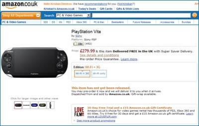 Новата мобилна конзола за игри Sony PS Vita е достъпна за предварителна покупка в Amazon