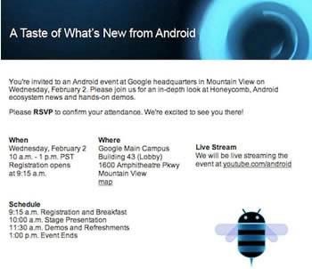 Google ще анонсира Android Honeycomb 3.0 в детайли в сряда, 2-ри февруари