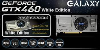 Galaxy GeForce GTX 460 с нестандартна, бяла платка