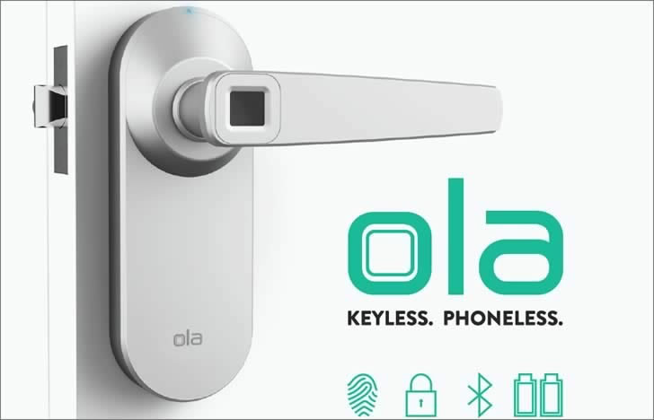 Ola - брава за врата с дактилоскопичен датчик