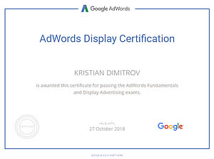 Google Adwords Display Advertising certificate