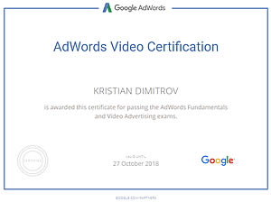 Google Adwords Video Advertising certificate