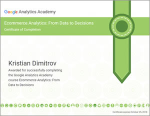 Ecommerce Analytics: From Data to Decisions certificate