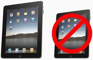 Apple iPad с диагонал на екрана 7 инча няма да има