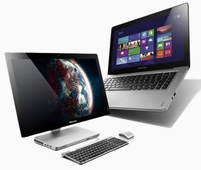 Моноблок и лаптоп със сензорни екрани и Windows 8 от Lenovo