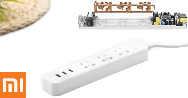 XiaoMi 3 USB Charging Ports Mini Power Strip with 3 Sockets Standard Plug